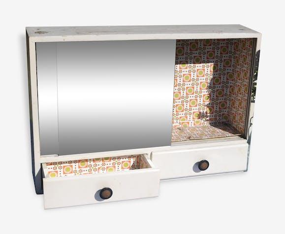 armoire pharmacie blanche vintage 2 tiroirs ancien meuble de salle de bains en bois avec. Black Bedroom Furniture Sets. Home Design Ideas