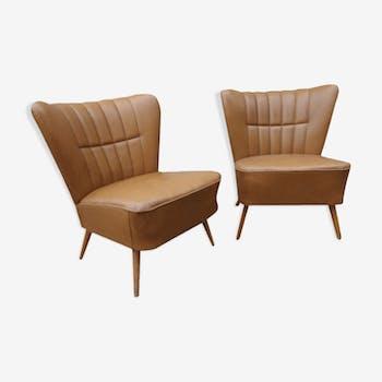 Paire de fauteuils cocktail fauve
