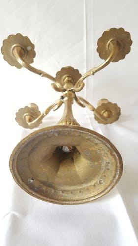 Ensemble de chandeliers 5 feux et rat de cave 2 feux laiton ou bronze doré