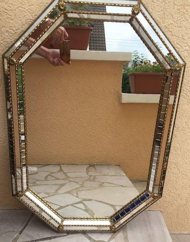 Miroir ancien en bois doré 85 x 59 cm