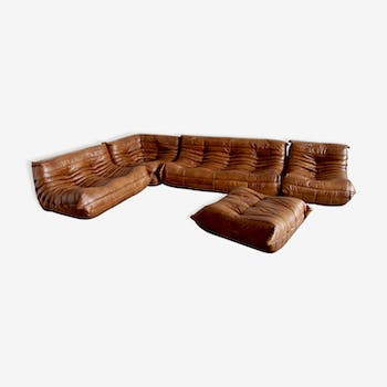 Togo set of cognac leather by Michel Ducaroy for Ligne Roset