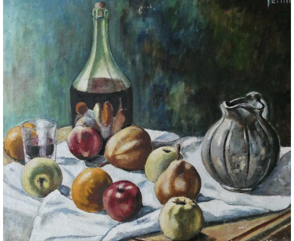 Tableau, huile sur toile, nature morte aux fruits, signée