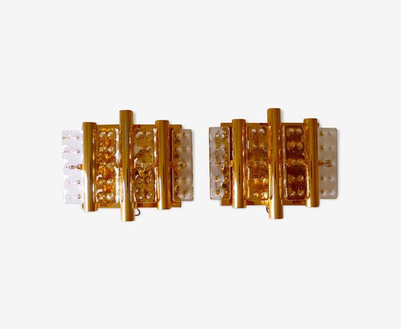 Pair of brass and glass appliques by Hans Agne Jakobsson for Orrefors 1970s