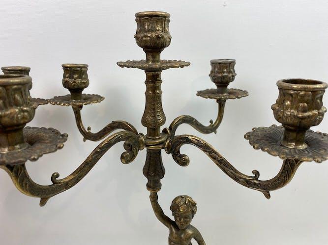 Set de 2 chandeliers en laiton 5 feux 37cm