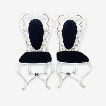 Paire de chaises en fer forgé