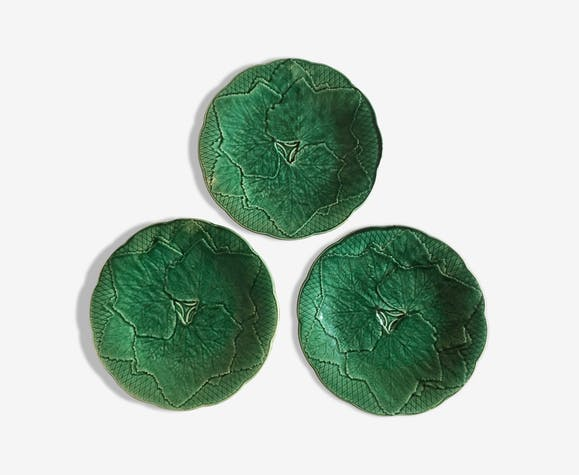 Set of plates of Gien slip early 60s décor leaves
