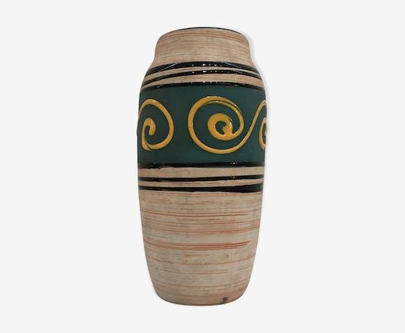 Vase décor spirales jaunes, manufacture W. Germany 1960