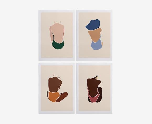 Illustrations série Les Baigneuses A4