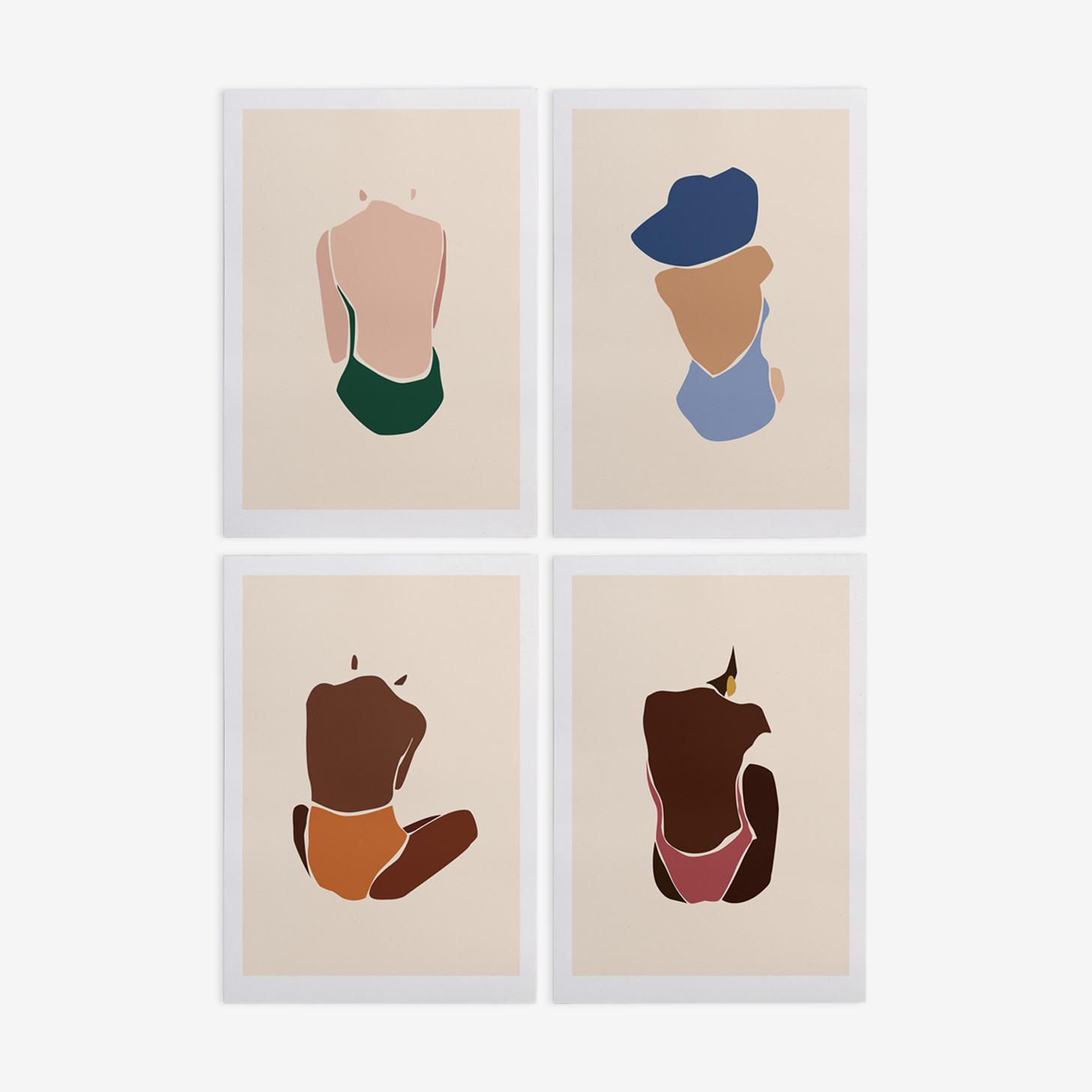 Les Baigneuses illustration, A4