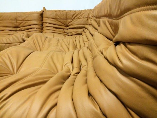 "Sofa 2 seater ""Togo"" camel leather by Michel Ducaroy for Ligne Roset"