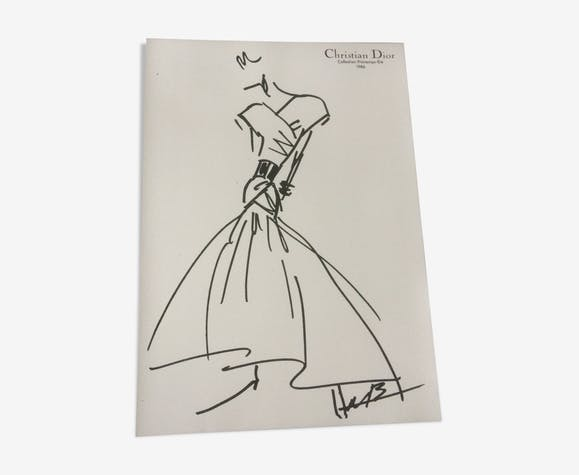 Illustration de mode de presse Christian Dior 1986