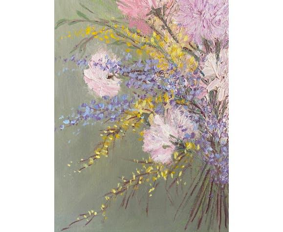Tableau ancien, nature morte aux fleurs sauvages années 60/80