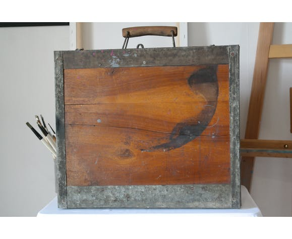 Painter's case in walnut and metal early XX
