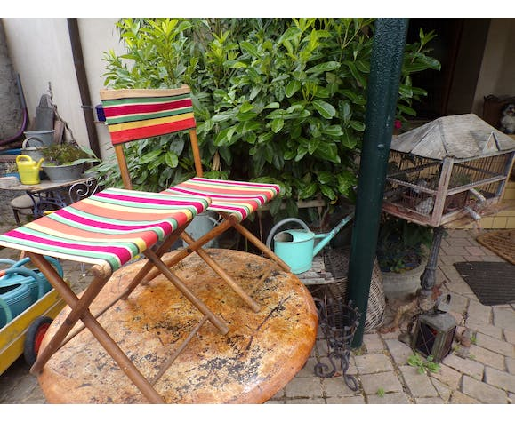 Vintage camping armchair and stool