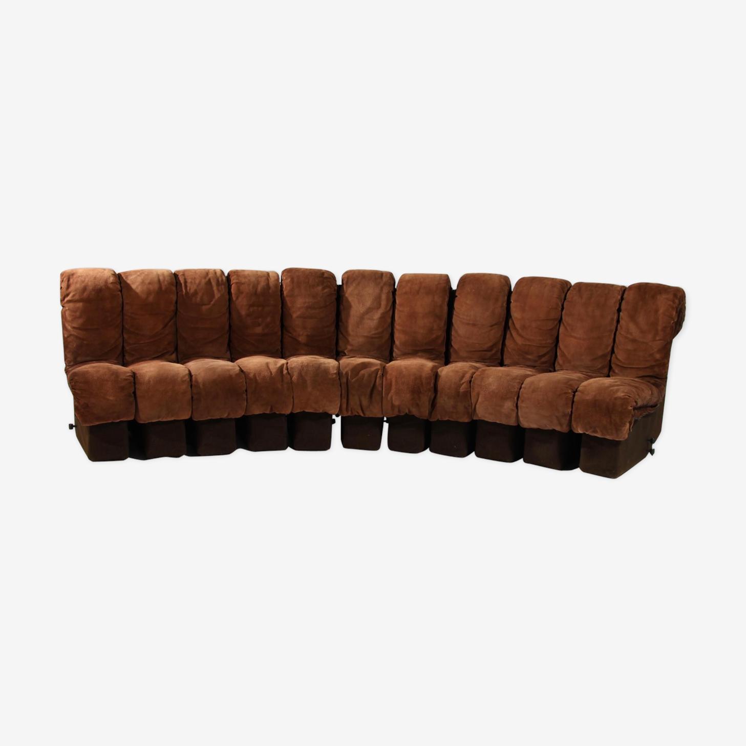 """Canapé modulaire """"DS 600 Non Stop"""" en cuir marron par Berger Ulrich et Vogt pour De Sede 1970s"""