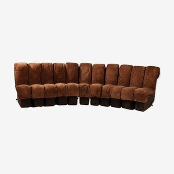 """DS 600 Non Stop"" modular sofa brown leather by Berger Ulrich and Vogt for De Sede 1970 s"