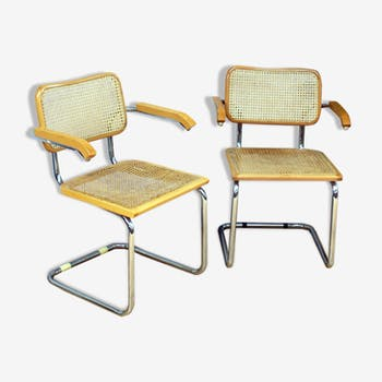 Pair of cesca B64 armchairs by Marcel Breuer