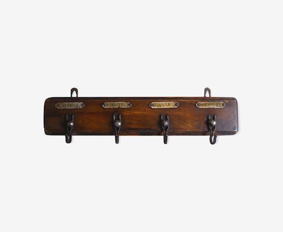 Ancien porte torchon bois et crochet m tal d co cuisine bois mat riau marron industriel - Torchon cuisine original ...