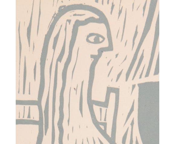 """Linogravure """"la femme assise"""""""