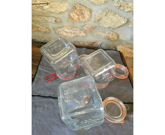 Lot of three thick glass jars made in Italy