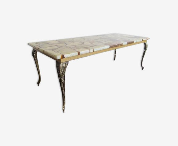 Table low Mid-Century Brass, marble & resin