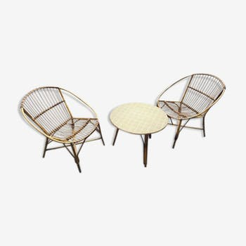Rattan living room with 2 armchairs and table 60