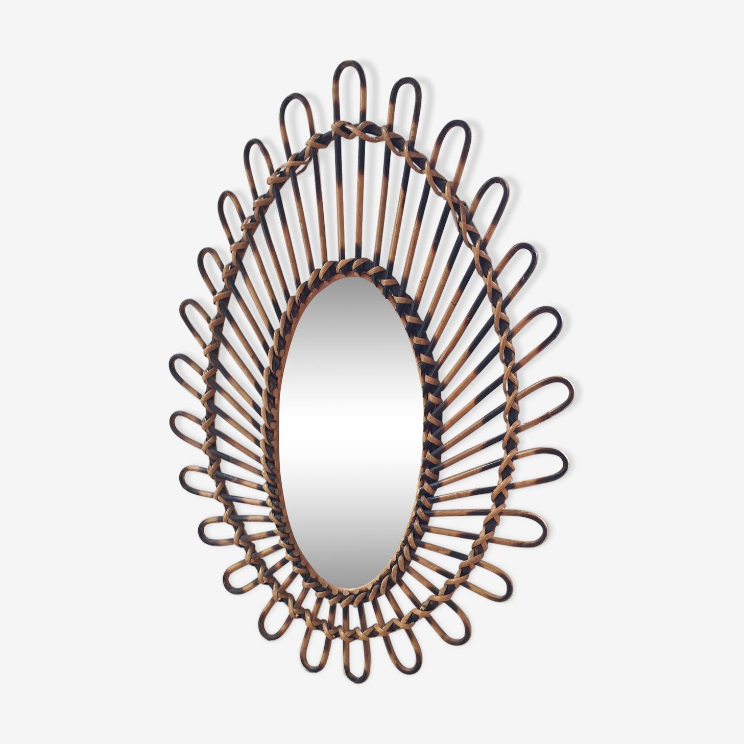 Miroir rotin vintage ovale 47x65cm