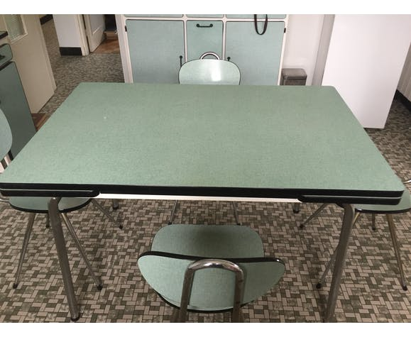 Vintage kitchen table in pale green formica with 4 chairs