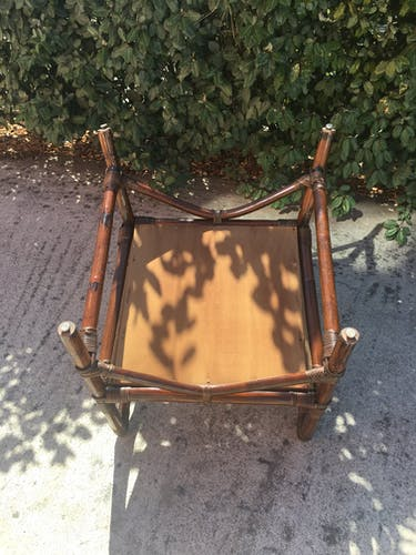 Rattan chair and vintage bamboo