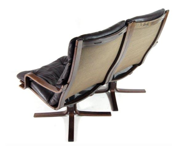 Canapé 2 places en cuir de palissandre vintage danois rétro vintage des années 1960 au milieu du siècle