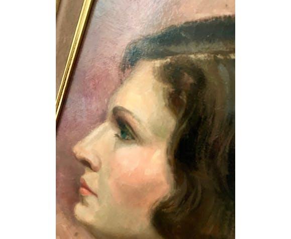 Portrait à l'huile signé