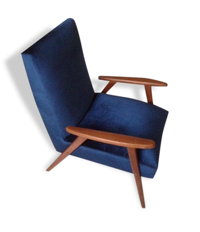 Fauteuil rétro velours bleu marine tissu bleu vintage