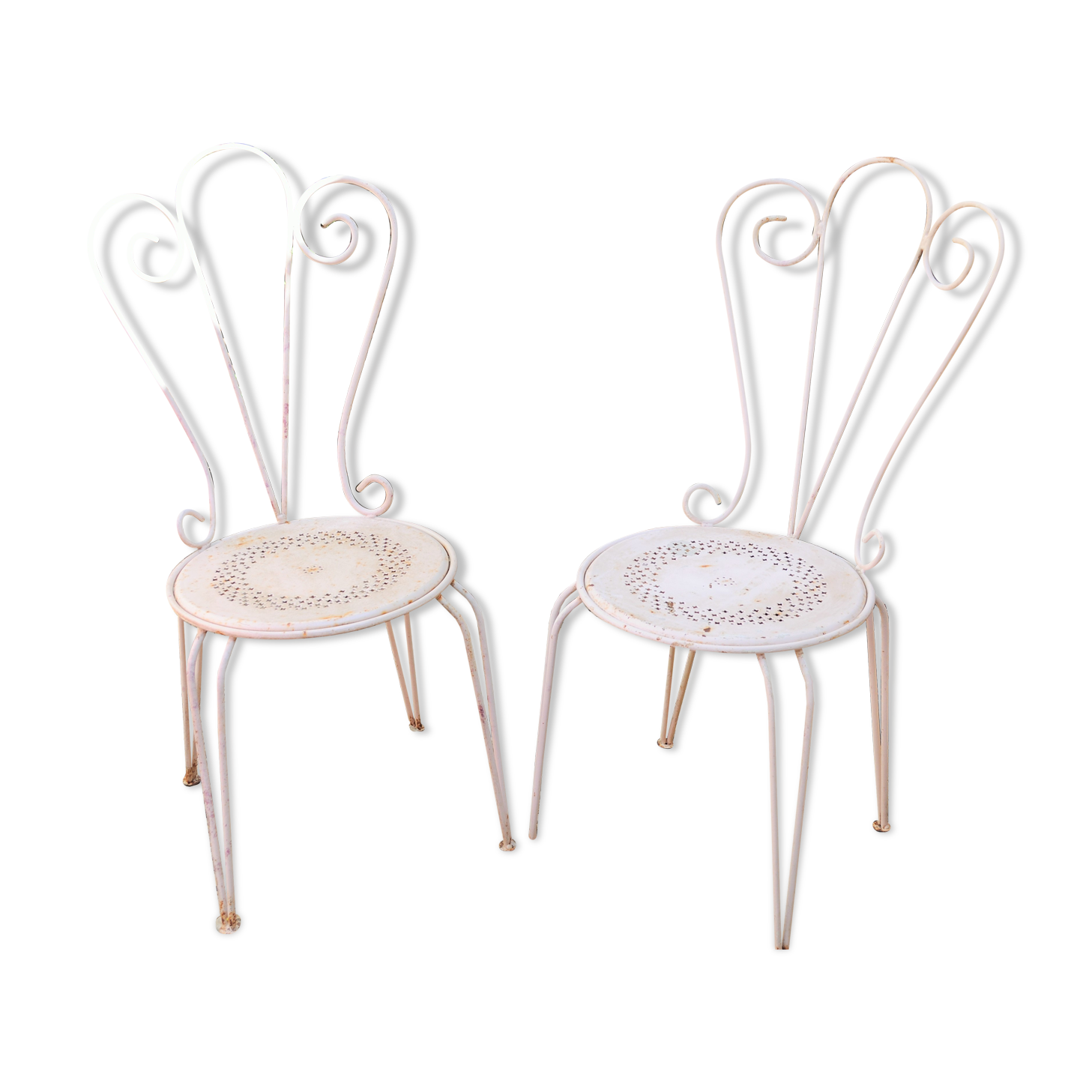 pair of years 40 50 white metal garden chairs metal white 50s Style Man Cave pair of years 40 50 white metal garden chairs