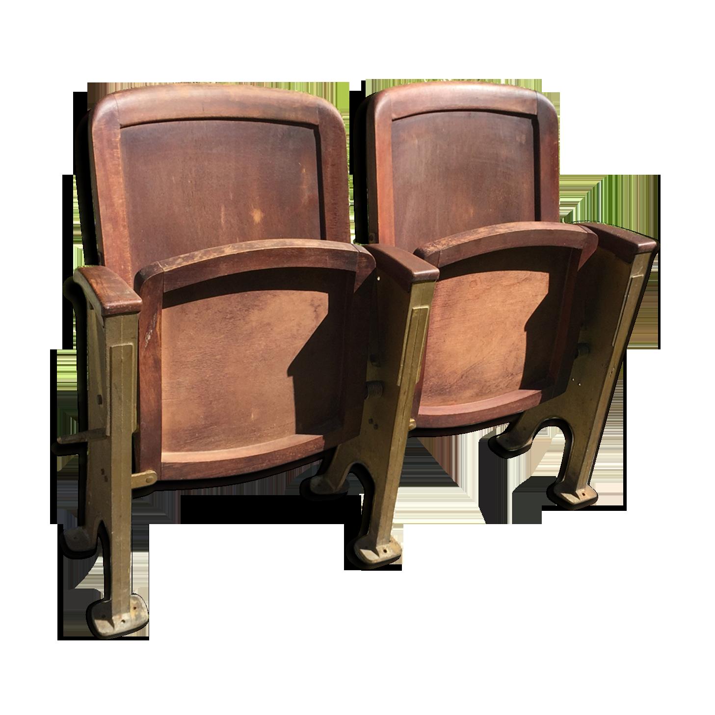 Paire de fauteuils de thé tre ou cinéma art déco bois