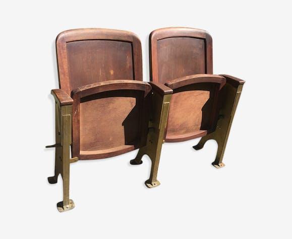 Paire de fauteuils de théâtre ou cinéma art déco 1930 bois