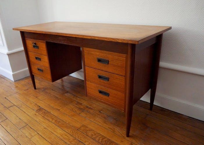 Danish office teak Hmf with 6 drawers