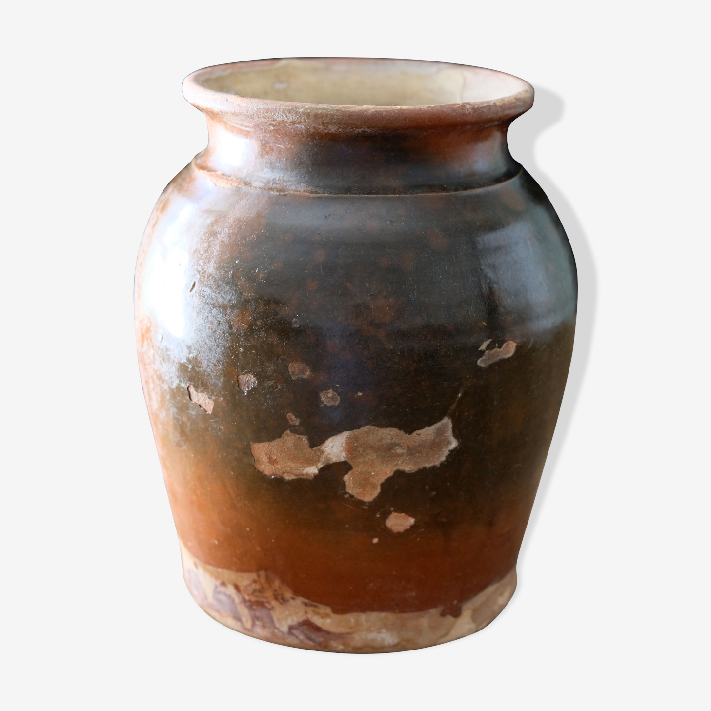 Old glazed terracotta pot