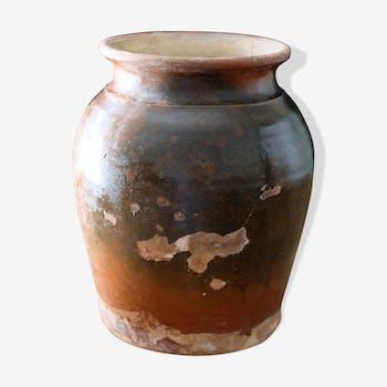 Old glazed terracotta pot
