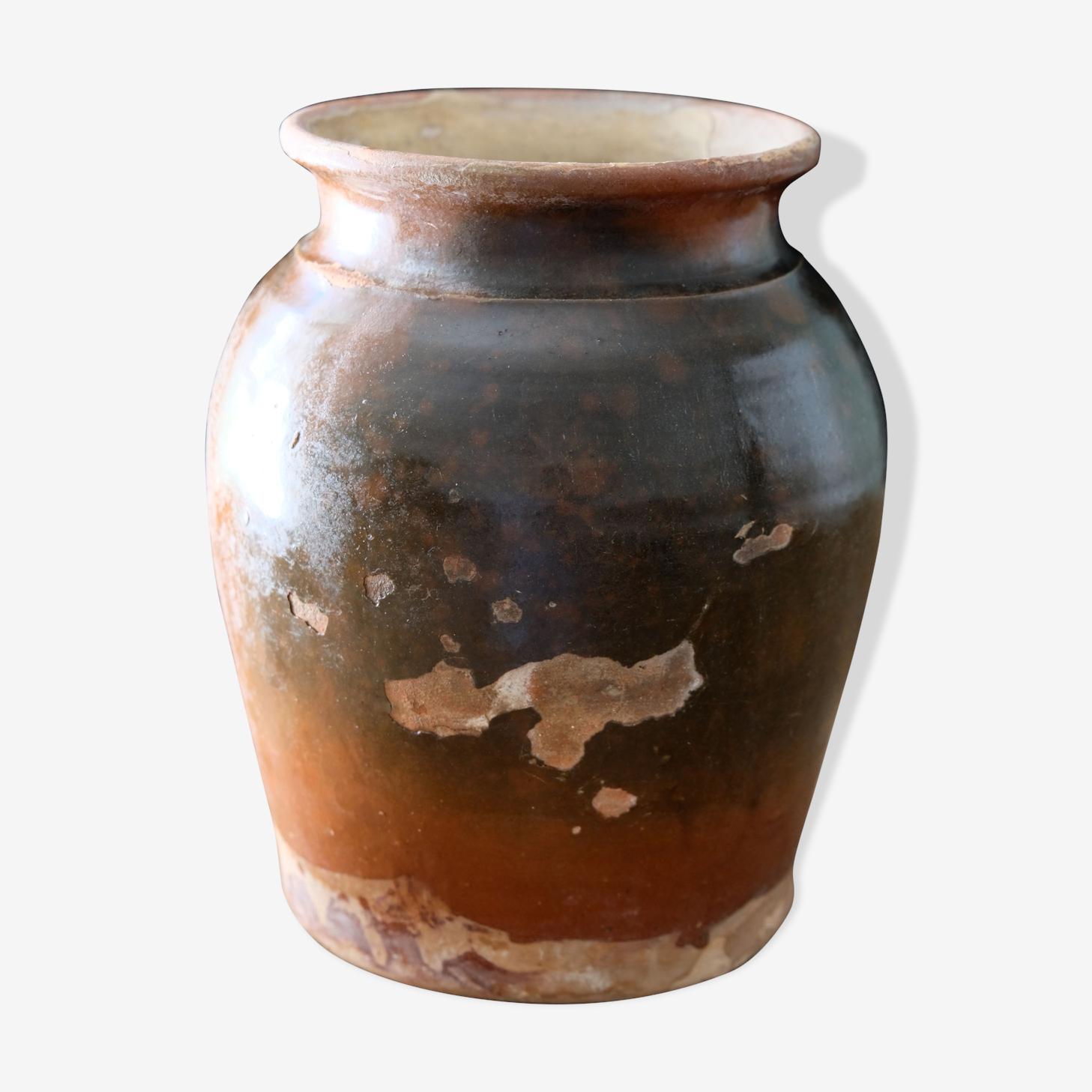 Pot terre cuite vernissé ancien