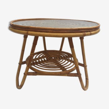 Round coffee table, double rattan trays