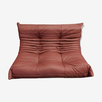 "Sofa 2 seater ""Togo"" red leather by Michel Ducaroy for Ligne Roset"