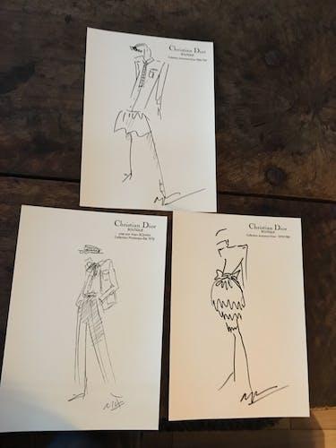 Illustration de mode de presse Christian Dior collection printemps - été 1984