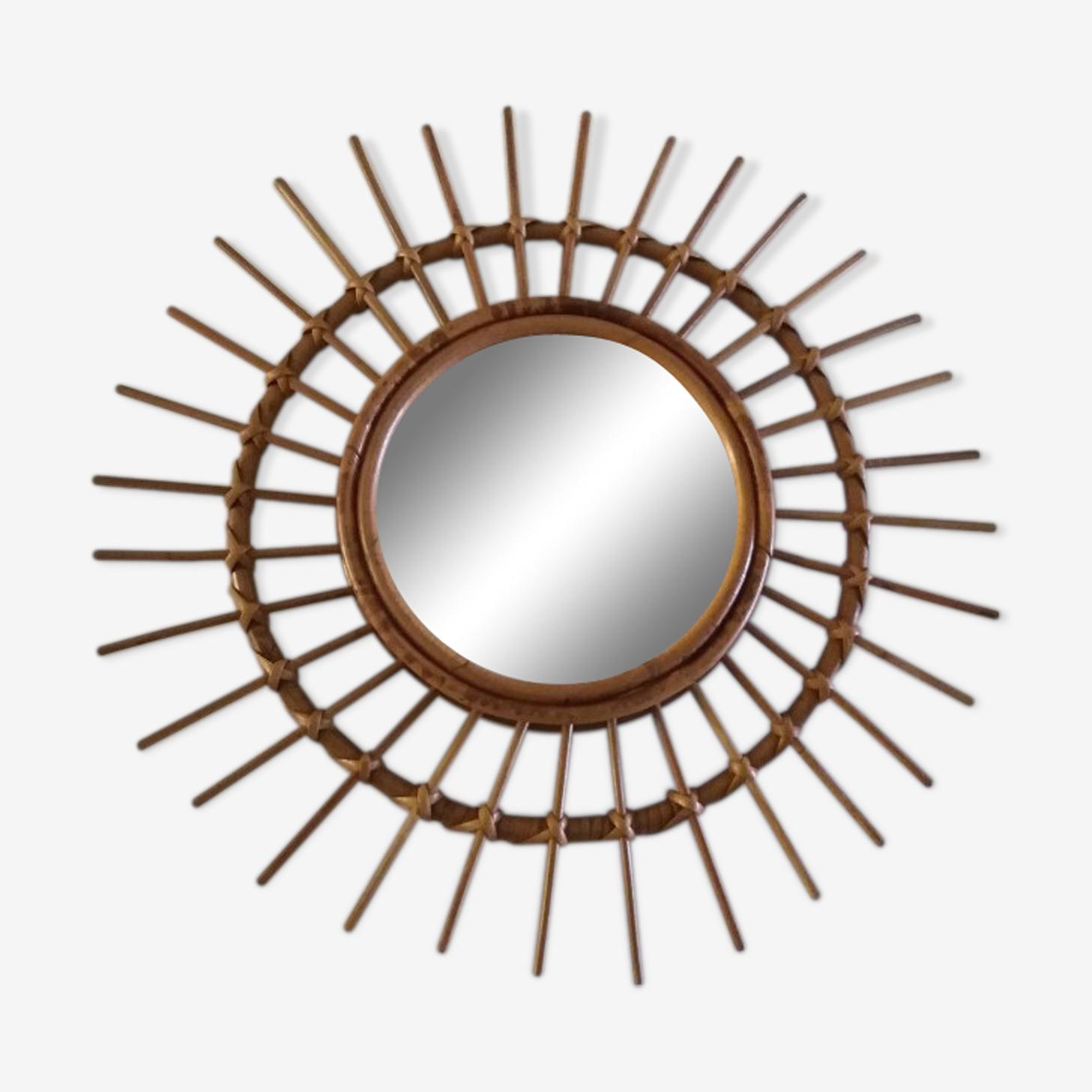 Miroir soleil rotin 55x55cm