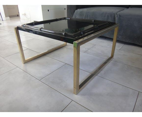 Table basse plateau bambou fibre de verre 65cm piétement métal doré 1970