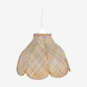 """Vintage """"flower"""" hanging lamp in rattan and wicker"""