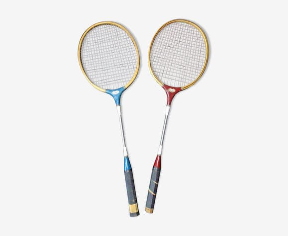 Two rackets badminton CSI in wood and metal 1970