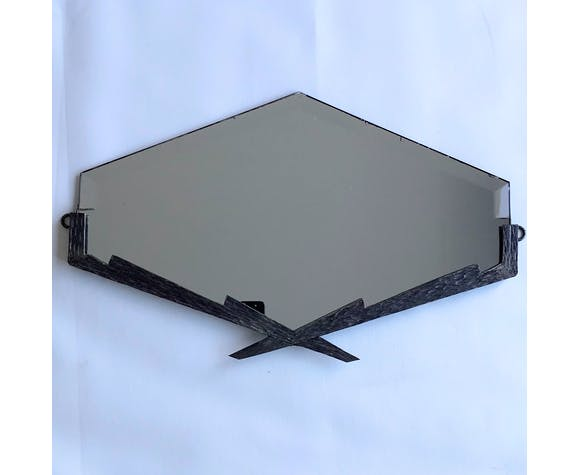 Small Vintage Art Deco Mirror Of The 30s In Metal In The Shape Of A Diamond 59x35cm Selency