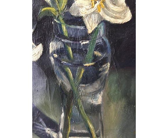 Ancienne huile bouquet de fleurs