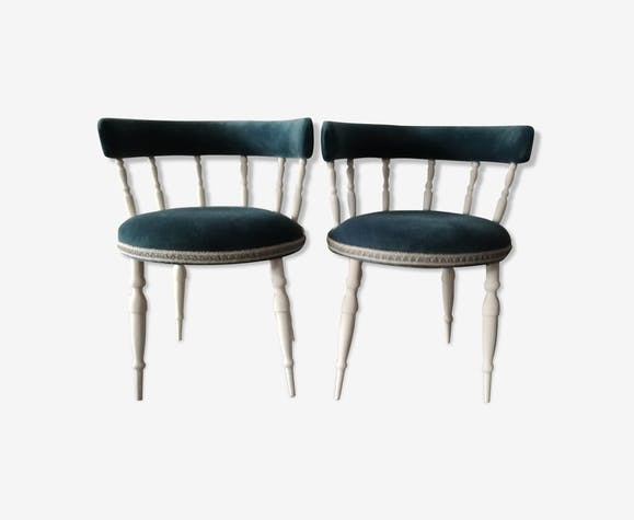 chaises velours bleu canard velours bleu classique apd1bnf. Black Bedroom Furniture Sets. Home Design Ideas