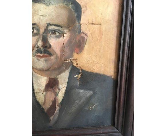 Portrait oil man mustache
